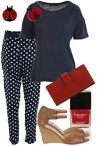 Spot pant outfit with red accesories