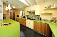 Green Apple Martini by Caesarestone countertops. Mosaic backsplash. Green, brown, blue mosaic. Two-tone cabinets. Funky kitchen. Contemporary kitchen. Green kitchen. Lime green.