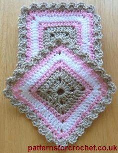 "Crochet square coaster ""Free crochet pattern square coasters usa 5 x"", ""Ravelry: Square Coaster Set pattern by Patternsfor Designs"", ""Free crochet pa Crochet Motifs, Crochet Dishcloths, Crochet Blocks, Crochet Squares, Crochet Granny, Crochet Stitches, Granny Squares, Crochet Home, Love Crochet"