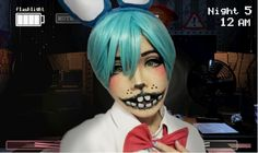 ~ ----------- Wow, I've never received this many requests for a makeup tutorial! I posted a video of my in my Toy Bonnie cosplay as well as a . Fnaf Costume, Fnaf Cosplay, Girl Costumes, Cosplay Costumes, Costume Ideas, Halloween 2020, Halloween Costumes, Bonnie Costume, Freddy 2