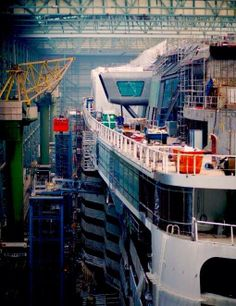 Port side and aft end of the Quantum of the Seas in Hall 6 at Meyer Werft. Photo by Royal Caribbean PR
