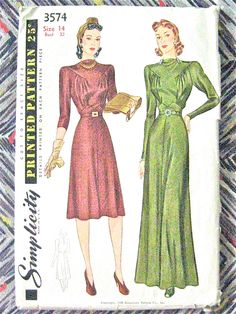 1930s or early 40s Evening Gown Pattern by Simplicity 3574 di Fancywork su Etsy https://www.etsy.com/it/listing/193808626/1930s-or-early-40s-evening-gown-pattern