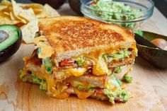 Bacon Guacamole Grilled Cheese Sandwich - Made these and it was delish! I have to have a gourmet grilled cheese sandwich party one of these days! Think Food, I Love Food, Good Food, Yummy Food, Healthy Food, Healthy Eating, Healthy Recipes, Vegan Food, Soup And Sandwich