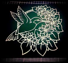 The Hummingbird CYO papercutting template by TreefrogsTrinkets