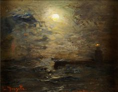 Mondscheinlandschaften / Moonlight Landscape, Louis Douzette. Germany (1834 - 1924)