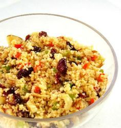 Couscous and Cranberry Salad...from the kitchen of One Perfect Bite     Ingredients:   1 package plain couscous   1 cup dried cranberries   3/4 cup chopped green onions   3/4 cup chopped sweet yellow or red pepper   3/4 cup slivered almonds, toasted   1/3 cup lemon juice   1/4 cup olive oil   1/2 teaspoon smoked paprika   1/4 teaspoon salt   1/8 teaspoon pepper