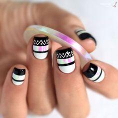 Nail Art Noir Et Blanc Aztec facile + Video tuto