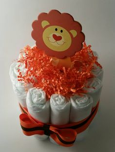 Lion Diaper Cake/ Baby Shower Gift/ Baby Shower Centerpiece - pinned by pin4etsy.com