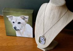 pet portrait and necklace of my Trixie