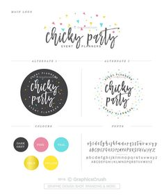 Logo Design Package Party Planner Logo Event Planner Logo Party Logo Confetti Logo Design