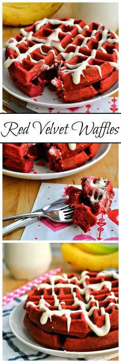 Surprise your sweetie with a unique and romantic breakfast- Red Velvet Waffles! Served with a sweet cream cheese glaze, these waffles can be put together in just 30 minutes!
