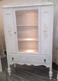 Shabby Chic China Cabinet Hutch Painted Cottage by PinkPaperRose, $395.00