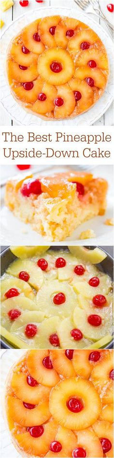 I think my Pineapple Upside down Cake is the BEST so I will have to give this one a try and compare!The Best Pineapple Upside-Down Cake - So soft, moist & really is The Best! A cheery, happy cake that's sure to put a smile on anyone's face! Just Desserts, Delicious Desserts, Yummy Food, Baking Recipes, Cake Recipes, Dessert Recipes, Dessert Aux Fruits, Eat Dessert First, How Sweet Eats