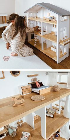 Scandinavian style wooden doll houses by KatieDollhouse Wooden Dollhouse, Diy Dollhouse, Barbie Furniture, Dollhouse Furniture, Doll House Plans, Woodworking Toys, Barbie House, Wood Toys, Play Houses