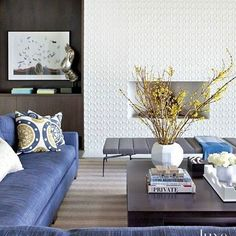 Contemporary White Living Room Detail with Mosaic Fireplace. Blue sectional and daybed. Living Room Lounge, My Living Room, Mosaic Fireplace, Fireplace Hearth, Fireplace Ideas, Fireplaces, Contemporary Barn, Modern Barn, Living Room Inspiration