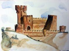 Castillo de la Mota (Medina del Campo). #watercolor © Sara Fuentes