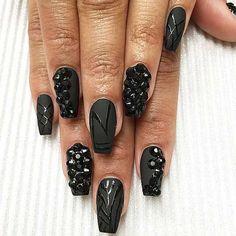 Best 25 Dark Black Nail Designs 2018