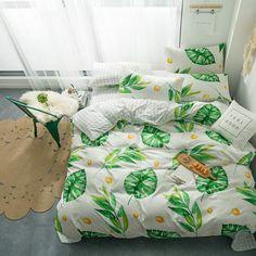 Green housses de couette Scandi Oiseaux Floral HYGGE réversible avec Housse de couette Ensembles De Literie