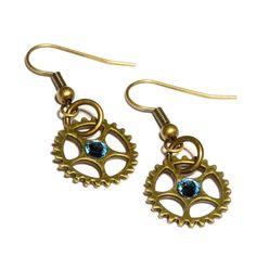 Steampunk Earrings - Bonze Gear and Light blue Swarovski Crystal by CatherinetteRings