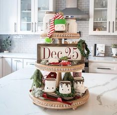 Christmas Farmhouse Tiered Trays by My Rustic Retreat with the cutest marshmallow mugs Christmas decor inspiration and ideas for Katharine Dever II Transformation Expert and Business Coach # presents PinsMore ideas Diy Christmas Kitchen, Rustic Christmas, Christmas Time, Christmas Crafts, Christmas Decorations, Christmas Ideas, Christmas Stuff, Thanksgiving Holiday, Holiday Themes