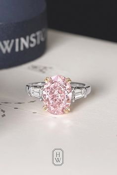 Bague de Fiançailles – Tendance : Oval Engagement Rings As A Way To Get More Sparkle ❤ See more: www. Pink Diamond Engagement Ring, Pink Diamond Ring, Dream Engagement Rings, Pink Ring, Vintage Engagement Rings, Diamond Wedding Bands, Oval Engagement, Pink Diamonds, Oval Diamond
