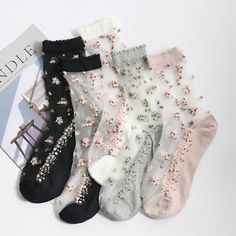 Transparent Flower Ankle Socks Colours) Pretty sheer socks with scattered flower pattern! Available in five different colours, will fit up to a size Sheer Socks, Women's Socks & Hosiery, Mesh Socks, Fashion Socks, Fashion Outfits, Style Fashion, Transparent Flowers, Transparent Clothes, Mode Grunge