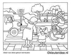 Jaap Kramer Crossing coloring page, traffic theme, kindergarten idea, Preschool coloring, cross the Coloring For Kids, Adult Coloring, Colouring Pages, Coloring Books, Teaching Safety, Safety Crafts, Picture Comprehension, Transportation Crafts, Kindergarten