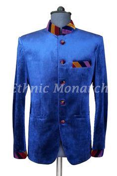 Attractive Blue Velvet Jodhpuri