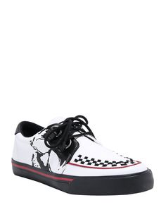 Creepy Creepers // T. Tuk Creepers, White Leather Shoes, Skull Print, Skeleton, Trainers, Vans, Footwear, My Style, Boots