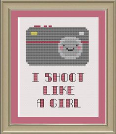 I shoot like a girl cute camera crossstitch by nerdylittlestitcher, $3.00