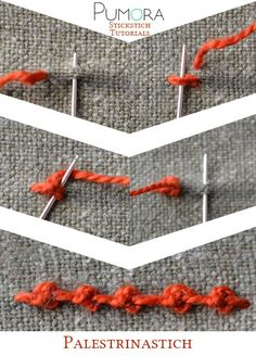 Crewel Embroidery Tutorial palestrina puntada tutorial - Learn how to embroider with the lexicon of embroidery stitches. Step by step tutorials on how to do knots and it's variations. Embroidery Stitches Tutorial, Crewel Embroidery Kits, Embroidery Needles, Learn Embroidery, Hand Embroidery Patterns, Embroidery Techniques, Ribbon Embroidery, Cross Stitch Embroidery, Machine Embroidery