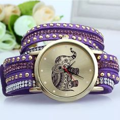 Purple Elephant Watch NWOT Purple elephant watch. The watch has rhinestones and wraps around the wrist. It has snap buckle closures and can be adjusted.                      Other colors also available Accessories Watches