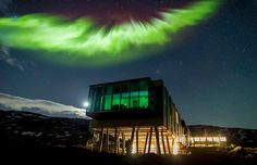 The Ion Hotel I'm all about eco-friendly hotels, but give me one with a view of the Northern Lights and I may just never leave. The Ion Luxury Hotel is an award-winning design hotel set against the backdrop of lava fields. Northern Lights Hotel, See The Northern Lights, Adventure Hotel, Agriculture Bio, Hotel Boutique, Unusual Hotels, Iceland Photos, Tromso, Rafting