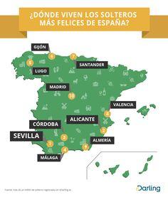 Infografía: ¿Dónde viven los solteros  más felices de España?