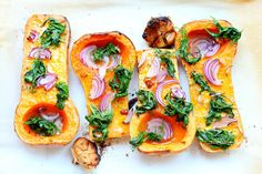 Delicious butternut squash with spinach and red onion
