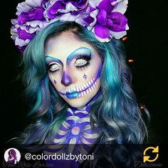 RG @colordollzbytoni: ☠Happy Halloween☠ A beautiful collaboration with the amazing @dehsonae More hair details coming soon but for now! @kenraprofessional #kenracolor #kenracolorcreative  #invisitab #btcpics #behindthechair_scare #behindthechair #halloween #halloween2015 #halloweenmakeup #colordollzbytoni #colordollz #toniroselarson #dehsonae