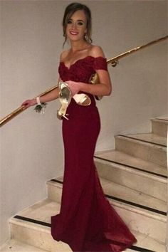 Burgunday Off Shoulder Lace and Tulle Mermaid Celebrity Prom Dresses pst0210 https://bellanblue.com