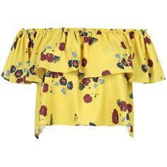 Yellow Off Shoulder Floral Ruffle Chiffon Blouse