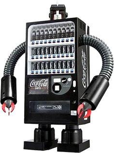 a Coca-Cola Zero Robot machine….that would rock at Rollbotto Sushi. Movie Special Effects, Vending Machines In Japan, Coca Cola Zero, Robot Design, Coin Design, Coca Cola Bottles, Diy Robot, Retro Makeup