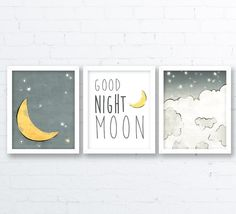 Nursery print set of three prints with a good night moon theme are from an original pencil and ink drawing, with color rendering done