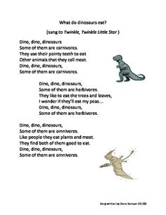 Song to teach about what carnivores, omnivores, and herbivores eat. It is in simple language and sung to the tune of Twinkle, Twinkle Little Star.