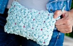 Azul bolso del ganchillo de la flor bolso de la por SweetForHome