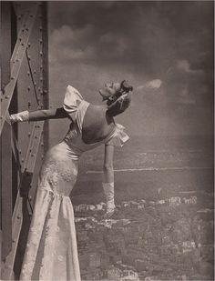 Model on the Eiffel Tower, Harper's Bazaar, 1939
