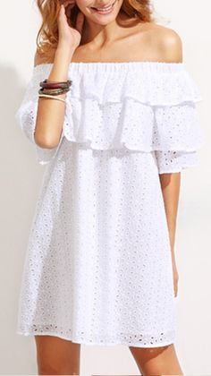 Shop White Ruffle Off The Shoulder Shift Dress online. SheIn offers White Ruffle Off The Shoulder Shift Dress & more to fit your fashionable needs.Online shopping for White Ruffle Off The Shoulder Shift Dress from a great selection of women's fashion Day Dresses, Dress Outfits, Casual Dresses, Short Dresses, Fashion Dresses, Girls Dresses, Dress Skirt, Lace Dress, Summer Outfits