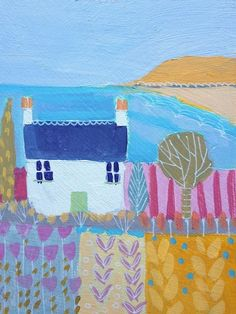 Signed Original Painting Acrylic on Board-Cottage by the Sea- Annabel Burton