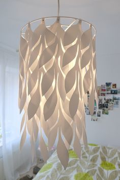 Ceiling lamp shade I made, inspired by our Orla Kiely duvet cover :)