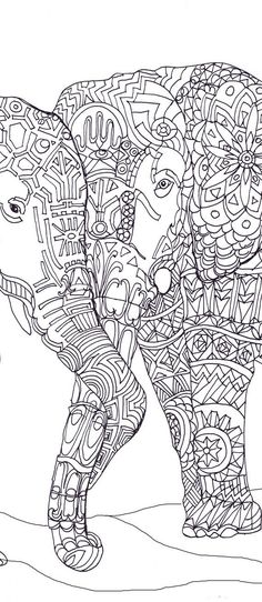 Elephant Clip Art Coloring pages Printable Adult Coloring book Hand Drawn Original Zentangle Colouring Page For Download, Doodle art Picture Original