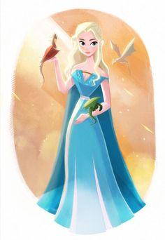 Game of Thrones, Daenerys Targaryen Disney style Game Of Thrones Facts, Game Of Thrones Quotes, Game Of Thrones Funny, Game Of Thrones Cartoon, Game Thrones, Daenerys Targaryen, Khaleesi, Arya Stark, Game Of Thrones Wallpaper