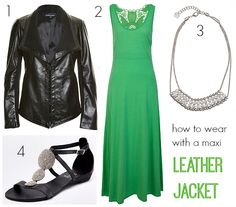 how to wear a leather jacket maxi dress