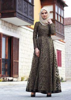 T 2285 Nisa Organize Dantel Abiye Elbise - HAKİ - Trend Tesettür